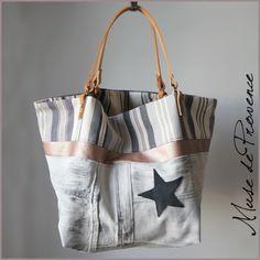 sac cabas de créateur en jean blanc et cuir 1