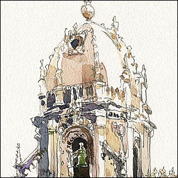 Art Print on Watercolor Paper Historic Lisbon di CitizenSketcher