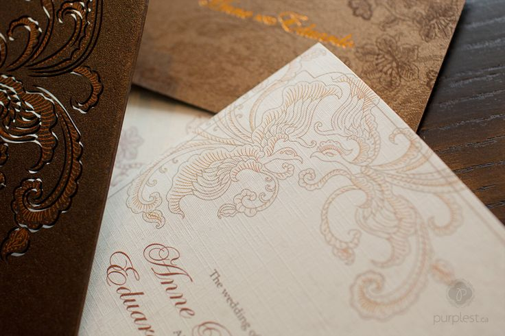 Anne + Eduardo's Indonesian Batik Lasercut Wedding Invitation