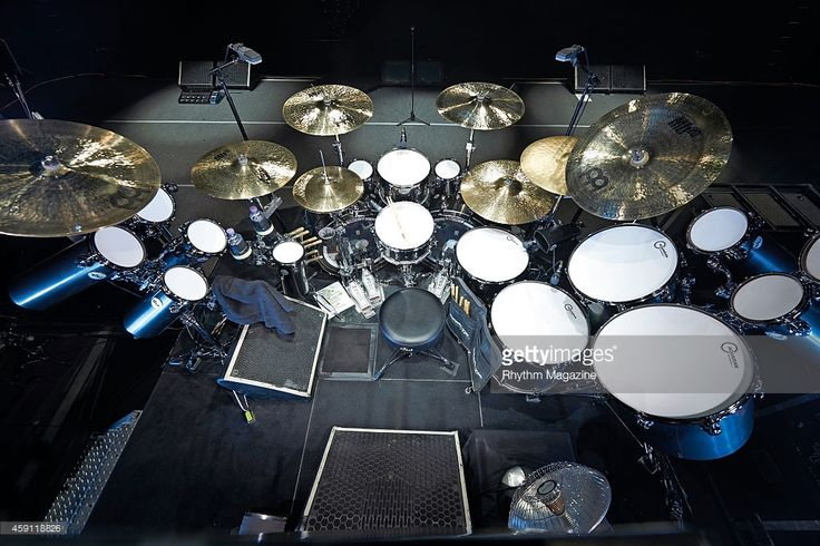 A custom Drum Workshop drum kit belonging to American musician Tommy Clufetos photographed before a live performance with English heavy metal group Black Sabbath at the National Indoor Arena in Birmingham, on December 22, 2013.