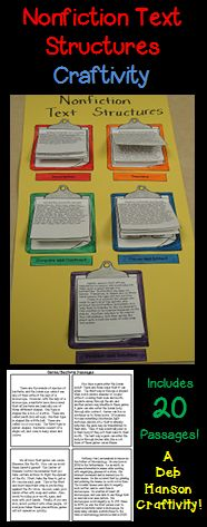 This engaging activity puts a fun spin on learning nonfiction text structures!  It also makes a creative bulletin board or school hallway display!  It can even be used as a valuable addition to your students' interactive notebooks!    DESCRIPTION SEQUENCE CAUSE AND EFFECT COMPARE AND CONTRAST PROBLEM AND SOLUTION  informational text structures http://www.teacherspayteachers.com/Product/Nonfiction-Text-Structures-Craftivity-featuring-20-passages-560076