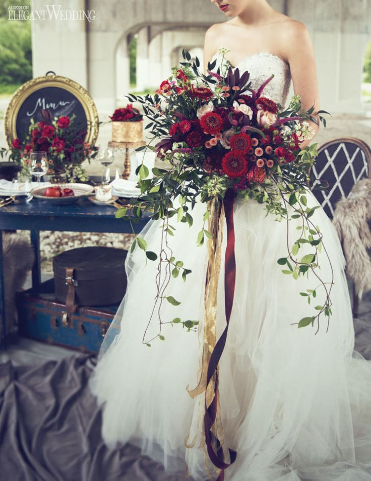Gorgeous Red Bouquet With Silk Ribbons for a Vintage Wedding www.elegantwedding.ca