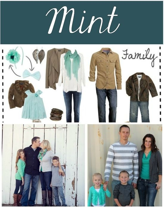 What to wear for fall family pictures- love this mint color scheme