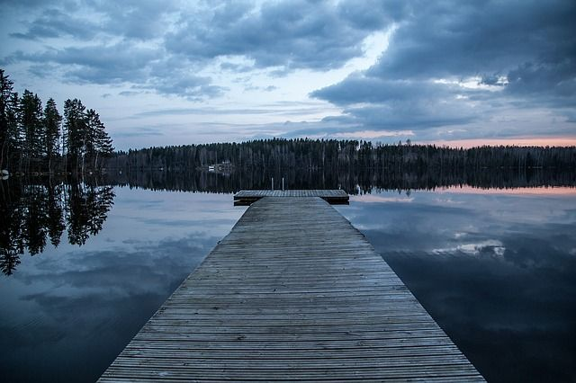 Doca, Lago, Finlândia, Escuro, Noite, Água, Natureza