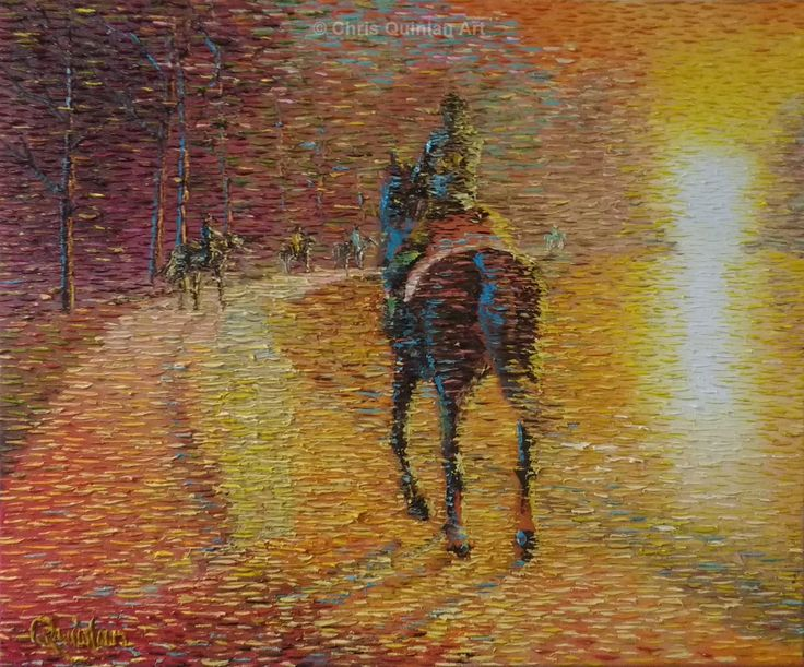 "Impressionist horse painting by Chris Quinlan - 24"" x 20""oil painting on canvas."