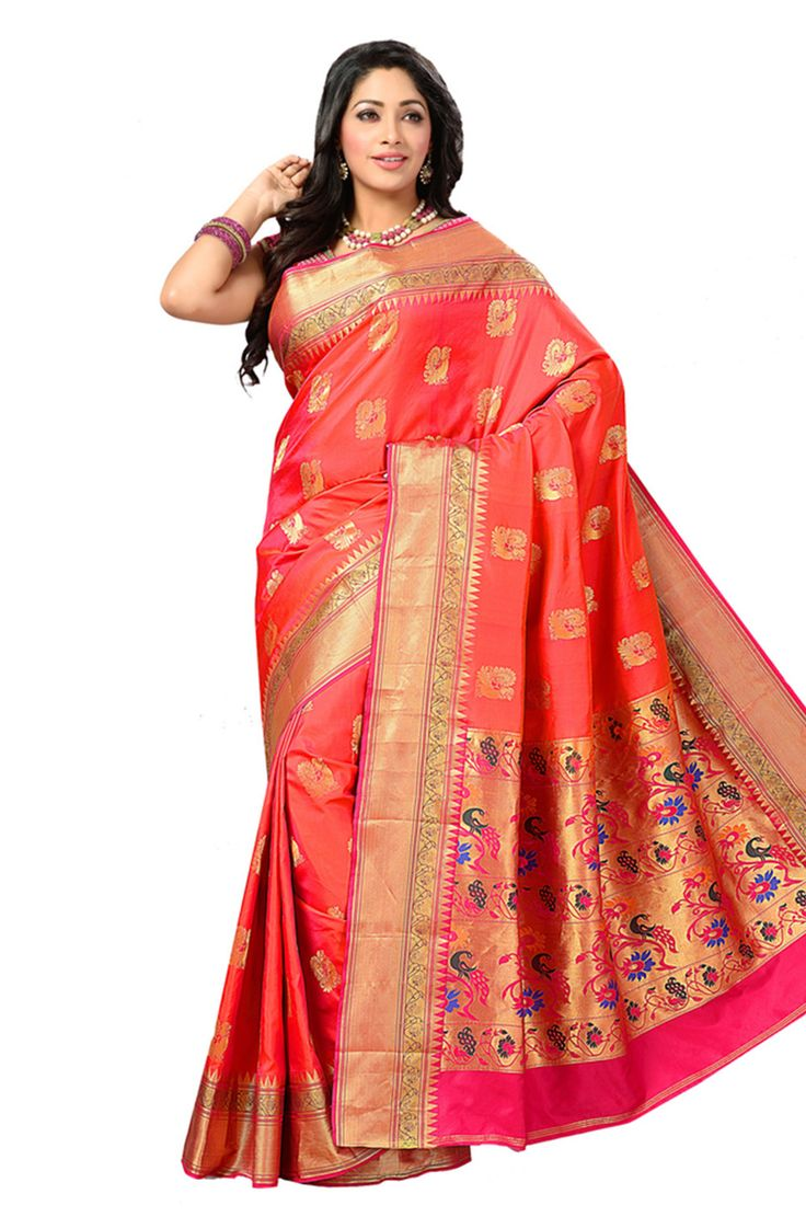 Pure Silk Zari woven peach saree with pink and gold pallu makes the wearer look lovely, this saree can be worn by all ages in any occasion or a wedding