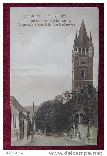 Baia Mare - str Crisan cu Turnul Bisericii - interbelica