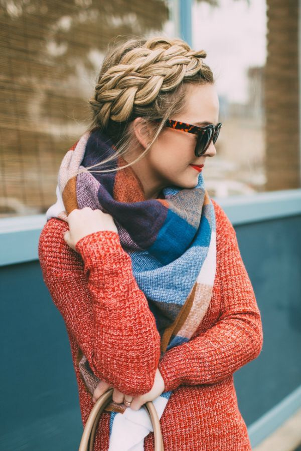 Outfit inspiration; coloured sweater with complimentary colour blocked scarf and lipstick