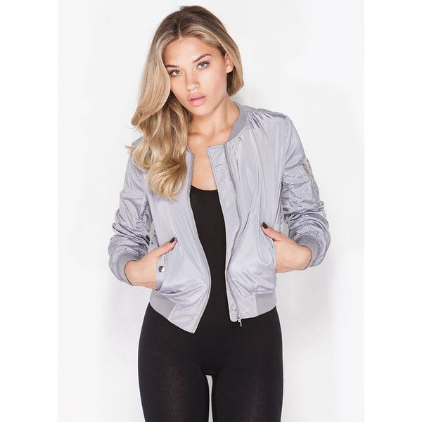 Dive Bomber Jacket GREY ($32) ❤ liked on Polyvore featuring outerwear, jackets, grey, bomber style jacket, gray jacket, lined bomber jacket, flight jacket and long sleeve jacket