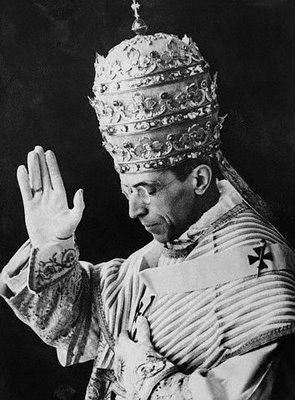 Pope Pius XII: Pope during the Second World War; here he wears the Papal Tiara, which is never seen nowadays