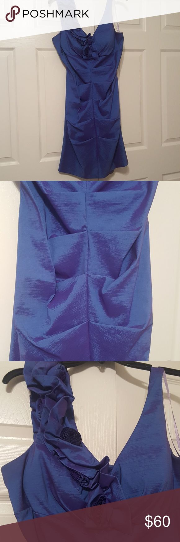 Metallic Purple dress Cute festive dress. Perfect for weddings or family events. Super comfy and very stretchy. One shoulder detail and very form fitting. Size 16 but fits any body type from size 12-14. Dresses Wedding