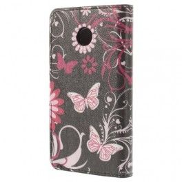 Huawei Ascend Y330 kukkia ja perhosia puhelinlompakko.
