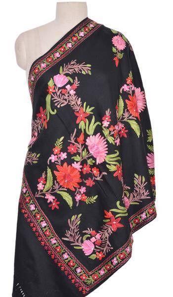 Fine Embroidered Kashmir Wrap Classic Cashmere Designer Shawl Stole ID13163 #VRA #ShawlWrap