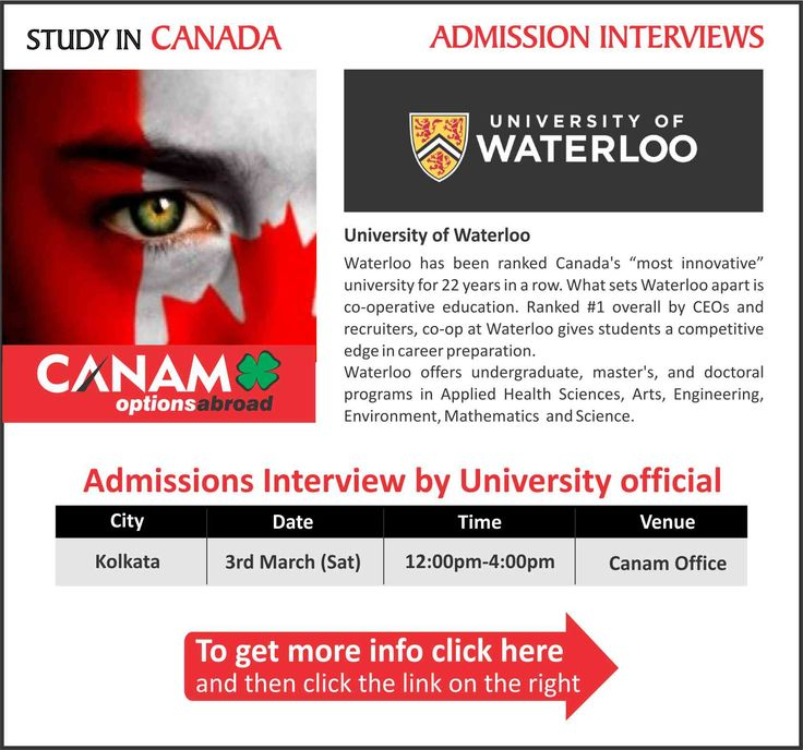 Study in #Canada - University of Waterloo. For complete information & enrolment, Register Today!  #StudyinCanada #CanadaStudyVisa #CanadaStudentVisa #HigherEducation #StudyVisa #StudentVisa #CanamConsultants #Kolkata