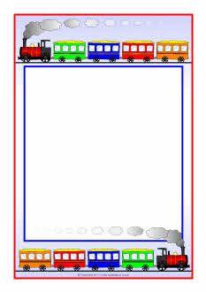 Train-themed A4 page borders (SB5330) - SparkleBox