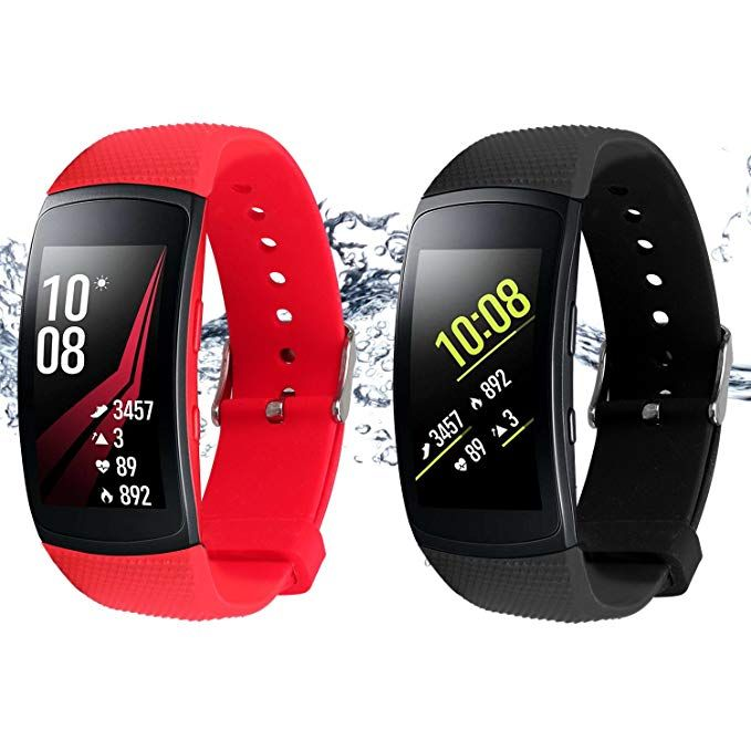 Rukoy Bands For Samsung Gear Fit 2 Band Gear Fit 2 Pro 2 Pack Black Red Replacement Straps Accessories For Sams Samsung Gear Fit 2 Samsung Gear Fit Fit Band