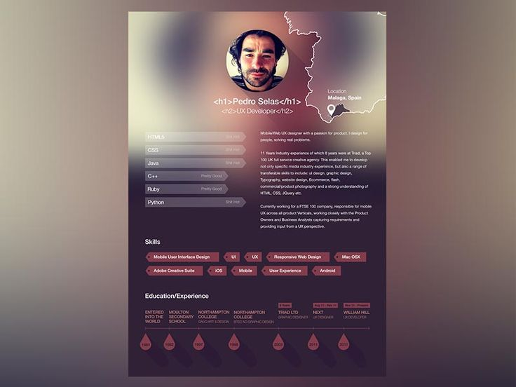 "Absolutely outstanding resume design with cool layout and unique features! For more great resume ideas search Aaron Sheppard and look at my ""? - Design - Resumes"" board. Creative Resume Design, Resume Style, Resume Design, Curriculum Vitae, CV, Resume Template, Resumes, Resume Format."