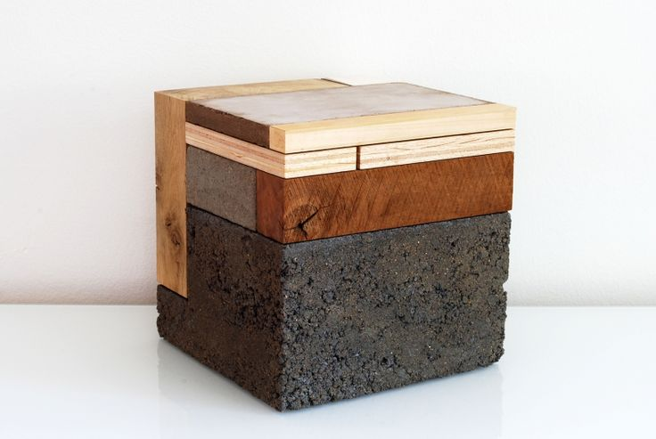 Phillip Finder - Block composition / material study - Concrete, wood, stone, clay - Architectural model