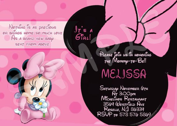 minnie mouse baby shower invitation printable minnie mouse baby shower