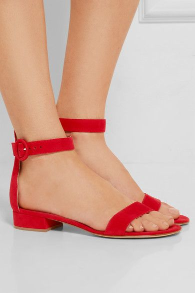 Heel measures approximately 20mm/ 1 inch Red suede Buckle-fastening ankle strap Made in Italy