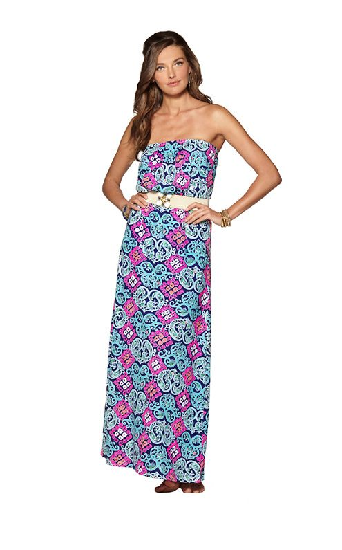 how to wear a strapless maxi dress to work