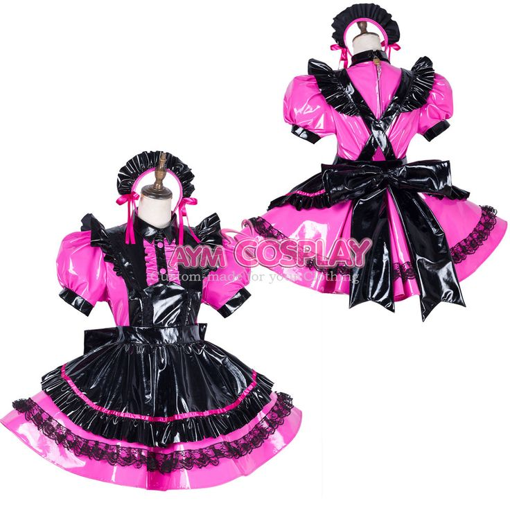 hot pink PVC lockable Sissy maid dress Unisex  tailor-made[G1790]  | eBay