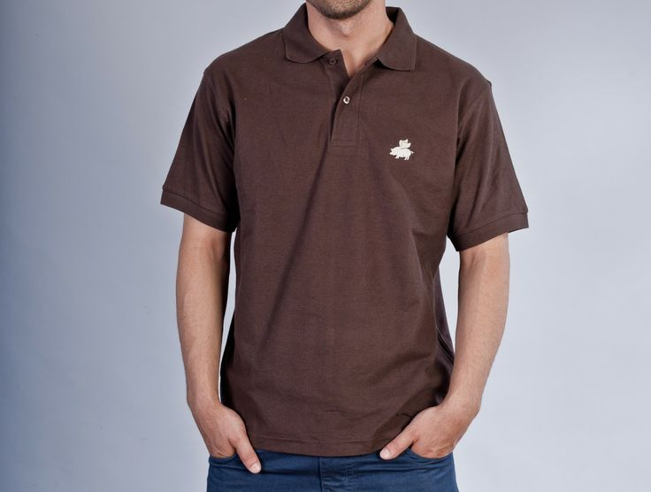 """Flying Pig"" Brown Polo"