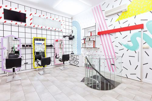 Like getting your hair cut in the salon from 'Earth Girls are Easy' ! Daring 80s Style Hair Salons in Slovenia by Kitsch-Nitsch