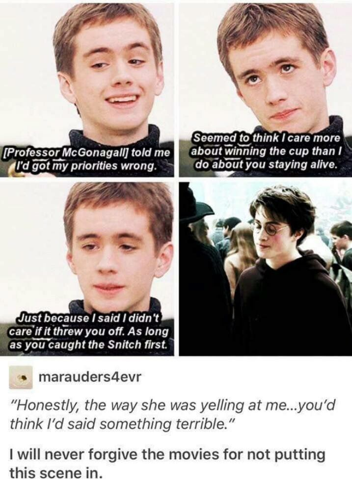 I'll never forgive the movie for not putting more Oliver Wood/Sean Biggerstaff in