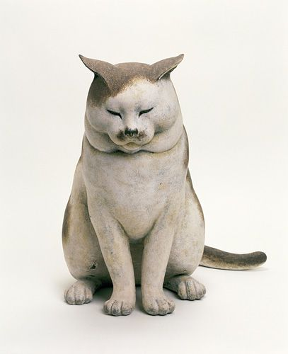 """""""The Nakanes' Cat"""" (1999) by Japanese artist Michiyo Miwa - Wood, dry lacquer, white soil, hand-colored"""