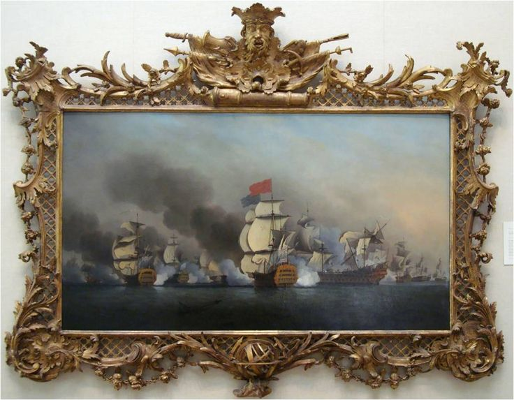 "Frame: Isaac Gosset (?), 1713–1799, British, Rococo Trophy frame, mid-18th century, YCBA, B1981.25.559FR | Painting: Samuel Scott, Vice Admiral Sir George Anson's Victory off Cape Finisterre, 1749, YCBA, B1981.25.559 | Emmanuelle Delmas-Glass. ""YCBA historic frame collection: using semantic web technology to contribute to the scholarship of British art,"" in ARTisON - AzLab#14 Azulejos and Frames. Proceedings. 2 (2016), p. 9-23. URL…"