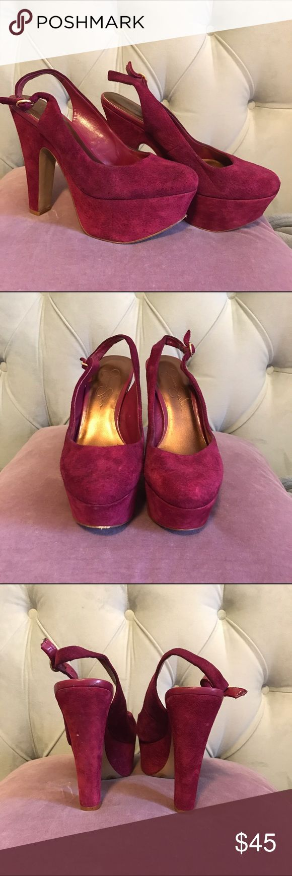 Jessica Simpson Platform Slingbacks Rich purple suede. Very comfortable. Will fit larger size feet - I'm 8.5 and was able to wear these comfortably. Jessica Simpson Shoes Platforms
