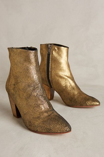 golden booties from anthropologie