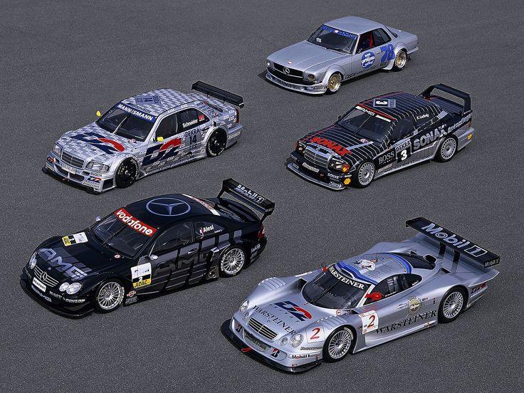 AMG Mercedes-Benz Racing Heritage  From top to bottom: - 1980 AMG Mercedes-Benz 450SLC (C107) - 1994 AMG Mercedes-Benz C-Class DTM (W202) - 1991 AMG Mercedes-Benz 190E EVO II (W201) - AMG Mercedes-Benz CLK DTM - AMG Mercedes-Benz CLK GTR DTM