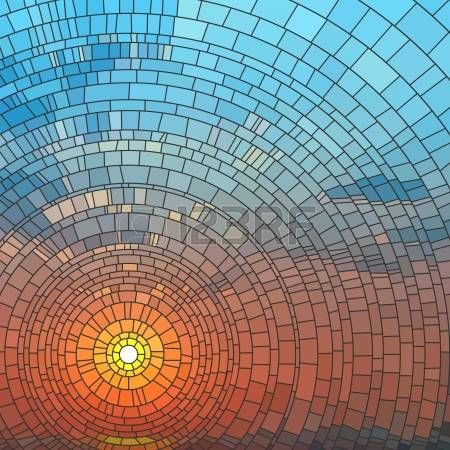 stained glass: illustration of sunset in blue sky in sea, stained glass window.