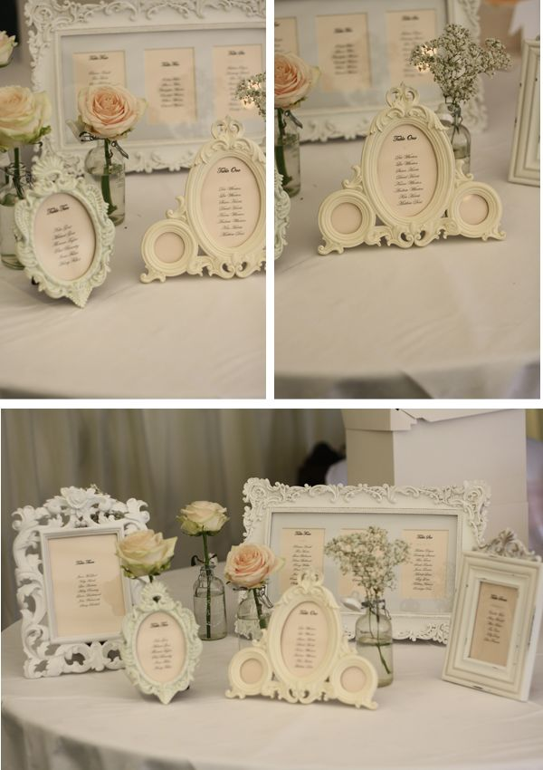 Table settings in photo frames What a great idea!