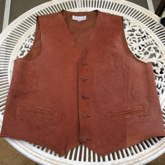 Vintage M suede leather vest. Mans leather by coolclobber on Etsy