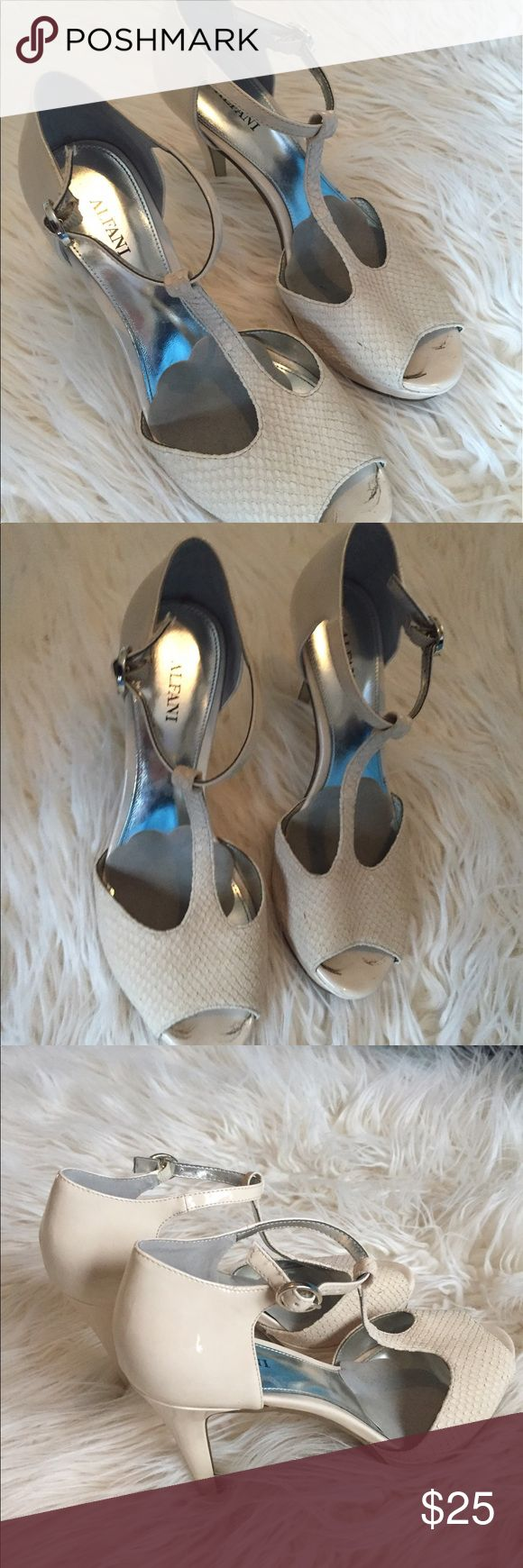 Beige heels Beige t strap 3 inch heels! Has some dirt wear toes are and on bottom. Has foot pads on inside. Size 7, fits true Macy's Shoes Heels