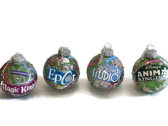 Show your Disney love this Christmas by hanging these decoupaged Disney Park Maps on your tree. This is a series of 4 ornaments and each