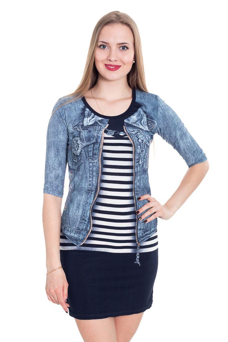 Платье в морском стиле с имитацией тельняшки, мини-юбки и джинсовки. Доступны размеры 42-50, подробнее по ссылке http://fas.st/C0DsKP