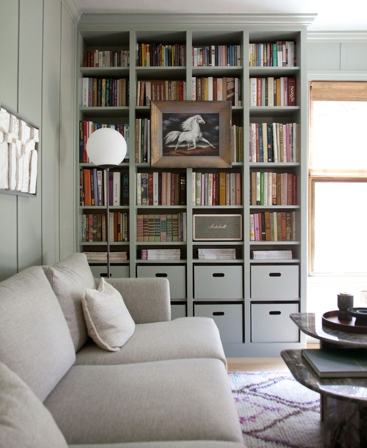 Making Nice in the Midwest matched her storage to her wall color to make for a m…