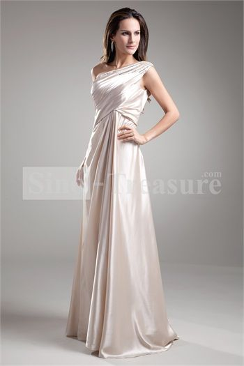 Champagne One Shoulder Floor-length Beading Mother of the Bride Dress