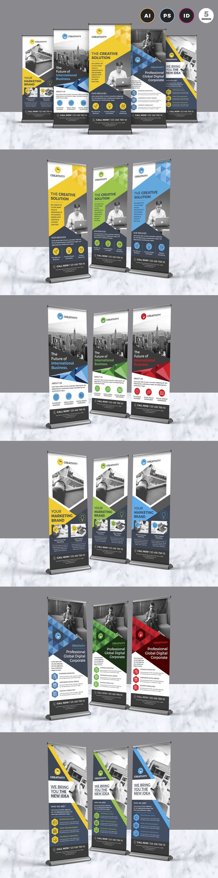 5 roll-up Banners Design Template With Include Adobe Photoshop, Illustrator, & inDesign Version