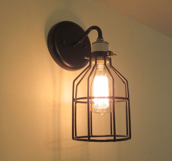 industrial wall light sconce with edison bulb