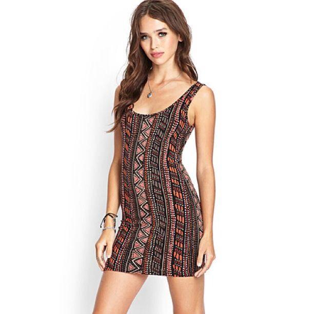 b7250ec9752f Tribal Print Bodycon Dress