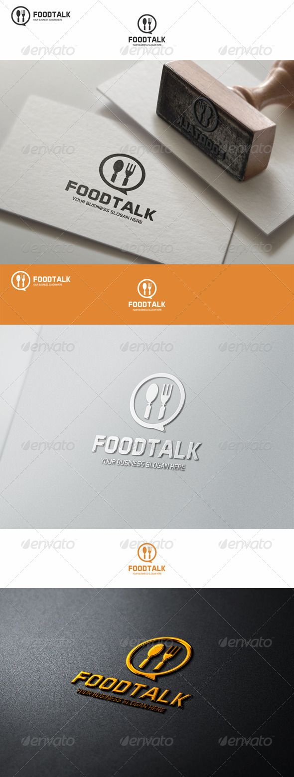 Food Talk Logo Template – Excellent logo in vector format for food business, catering, food forum, meal chat, websites about food, food blog, etc.  You can easily change the text. You can freely experiment with color. You can easily place this logo on your business card and printing – it's ready to print. You can easily place it on web page.