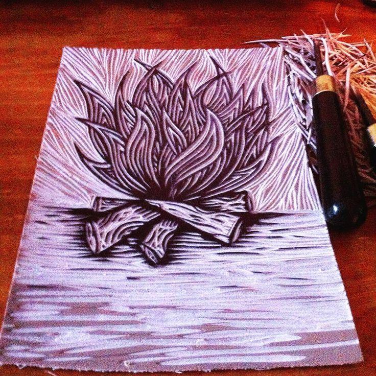 Fogatita pa'l frío. #linoleum #linocut #grabado #fogata #woodfire #linoprint #fire #engraving #draw #invierno #frio