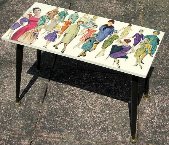Upcycled Vintage Dansette Legs Coffee/Side Table with 1950's pin-up ladies fashion Decoupage FREE UK POSTAGE!