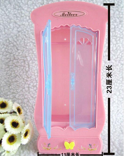 Симпатичные кукольный домик мебель для спальни шкаф шкаф, пластиковые розовый миниатюрный кукольный домик аксессуары мебель для кукол бесплатная доставка