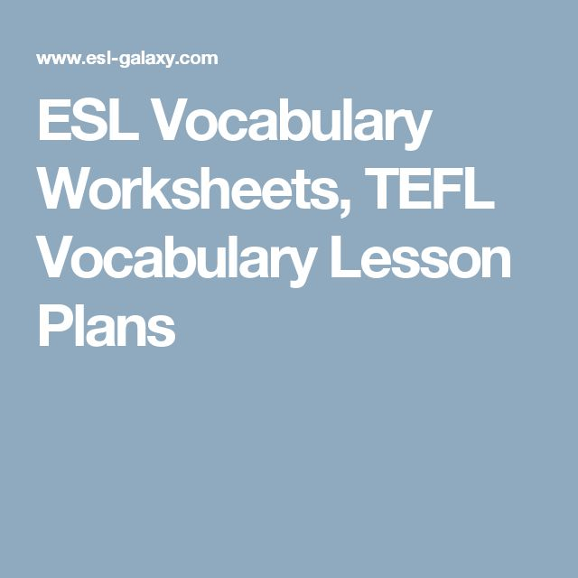 ESL Vocabulary Worksheets, TEFL Vocabulary Lesson Plans